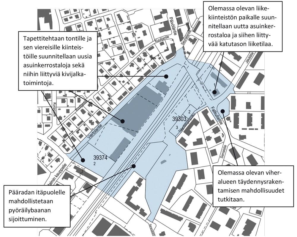 Suunnitelmapiirros kertoo, että koko Viertolantien itäreuna tulisi kerrostaloalueeksi ja vanhat rakennukset purettaisiin pois.  Kuva Kaupunkiympäristön toimiala