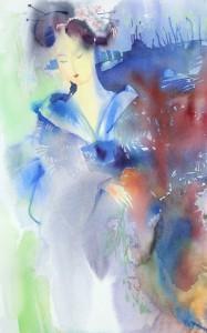 Oopperat ovat antaneet lähtökohdan osalle näytteillä olevista maalauksista. Kuvassa Madame Butterflyn Cio-Cio San.