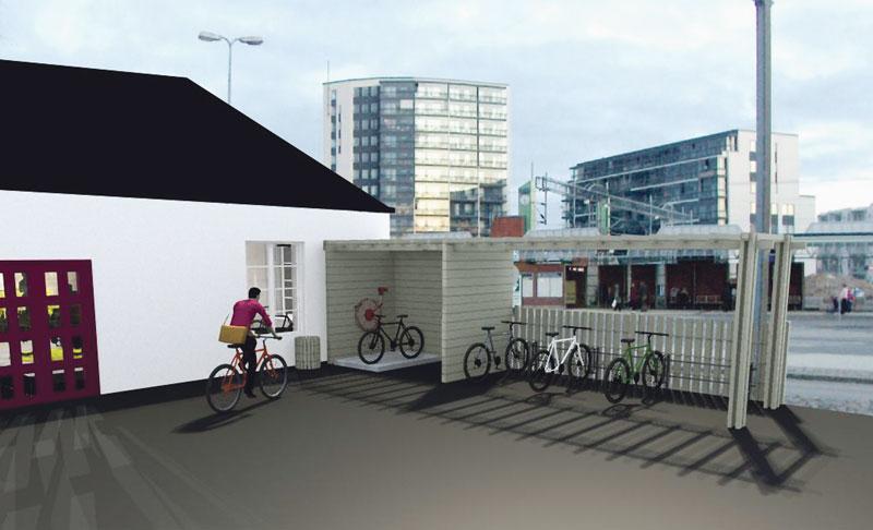 Hanna Lehtosen (Metropolia AMK) kuvitusta Malmin pyöräkeskuksesta. Pihalla olisi katettu pyörien pesupaikka. Kuvassa Lehtosen näkemys myös Latokartanontien toiselle puolelle mahdollisesti rakennettavista tornitaloista.