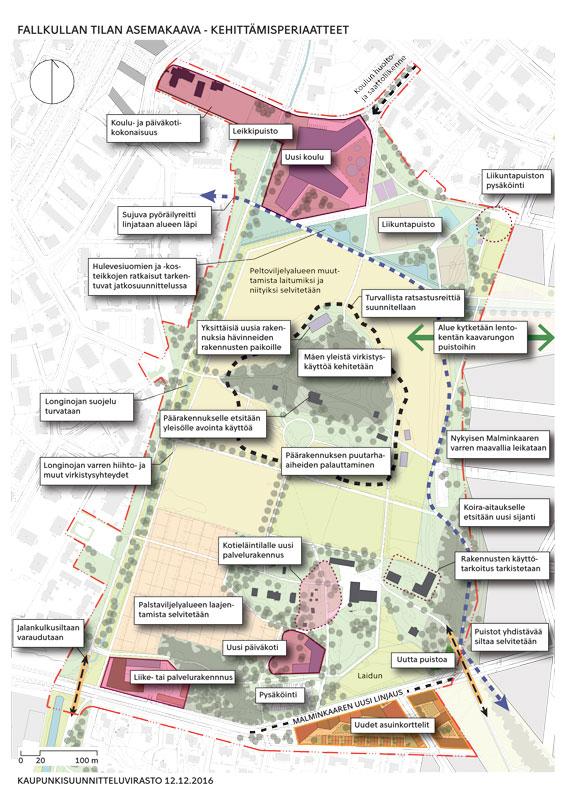 Kaupunkisuunnittelun kuva kertoo, miten toiminnot jatkossa sijoittuisivat. Kuva Kaupunkisuunnitteluvirasto